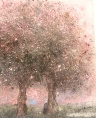 1980 La vieille femme sous les arbres roses