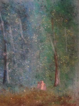 1983 Famille en promenade dans les bois