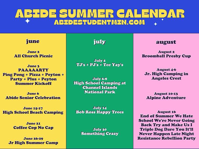 Copy of summer calendar summer calendar