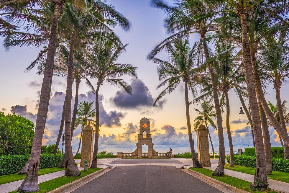 Palm Beach, Florida, USA clock tower on
