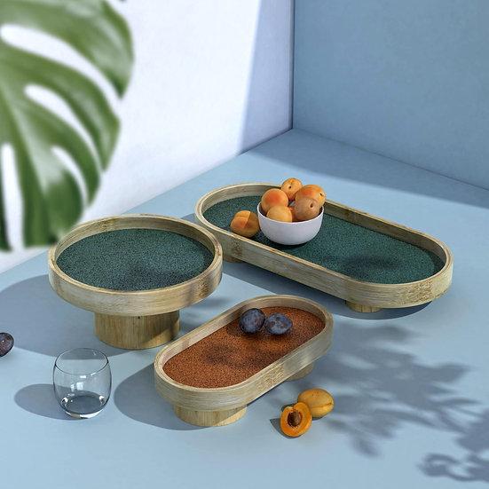 Podium Trays (SET OF 3): Handmade Bamboo Trays