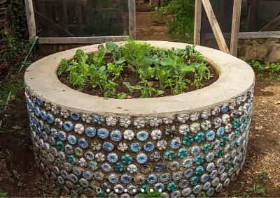 Eco-brick use as planter