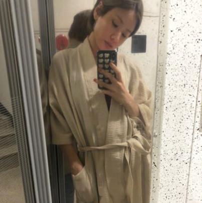 WlW Seersucker Beige Robe