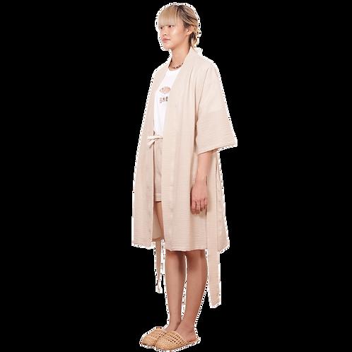 (RB) Beige Seersucker Robe