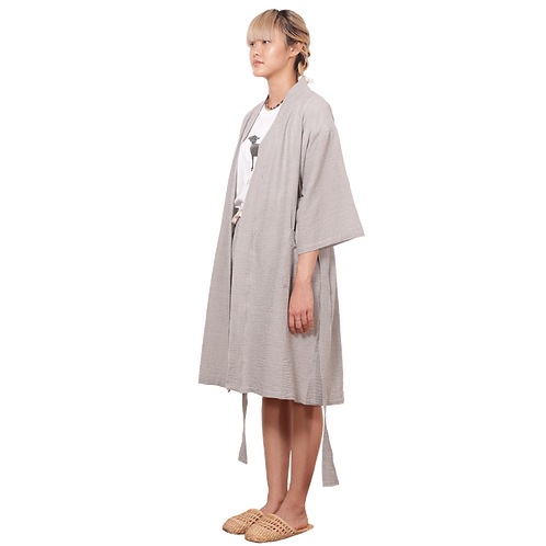 (RB) Grey Seersucker Robe