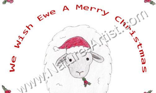"Pack of 10 Cards and Envelopes ""Eweltide Christmas"" - 7""x 5"""