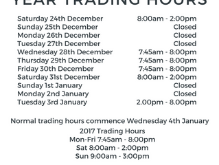 Christmas & New Year Trading Hours 2016