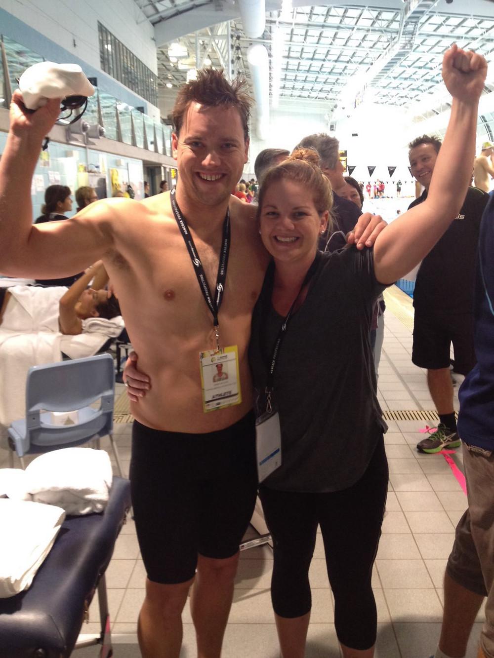 Jeremy and wife, Heidi celebrating his achievement