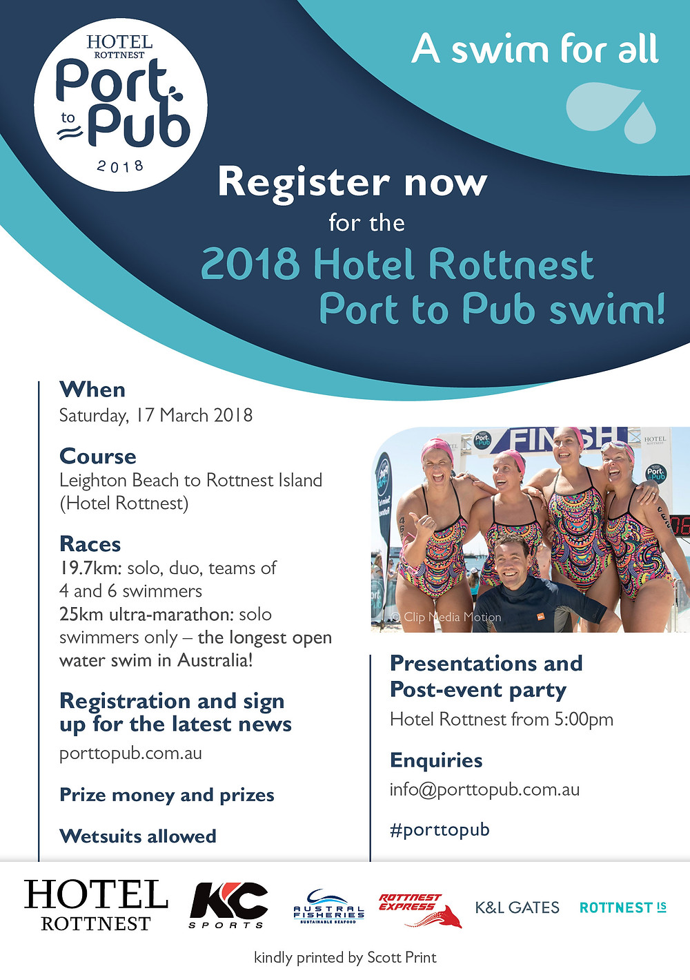 The 2018 Port to Pub is coming up quickly!  This is a fantastic event whether you are competitive or just up for the challenge. Try the solo swim or get a team together and make a fun day of it. Subiaco Sports Massage clinic are proud sponsors of this event since its debut in 2016! We will have a team of massage therapist waiting at the finish line for a post event treatment! For more information about the event, head to www.porttopub.com.au!