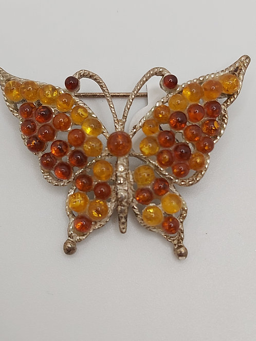 Vintage Faux Amber Butterfly 1.75 inches