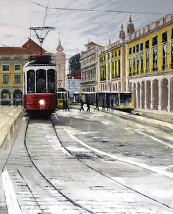 Red Trolley Car at Praça do Comércio - Lisbon