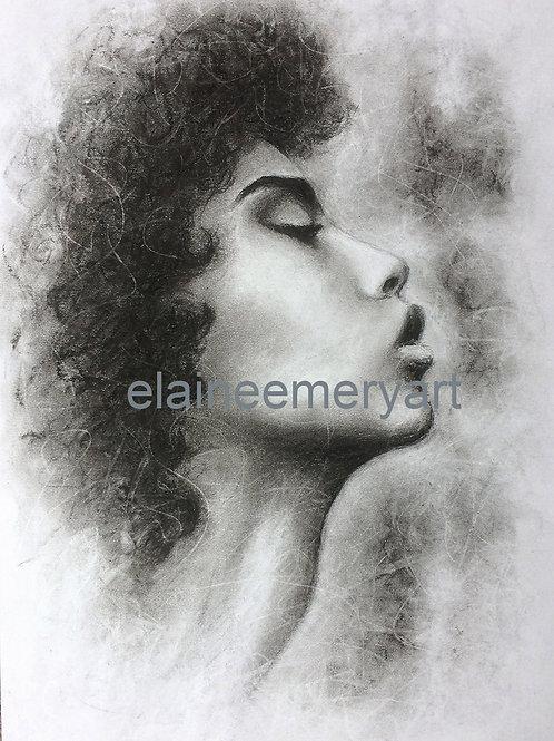 Original Charcoal Profile Drawing