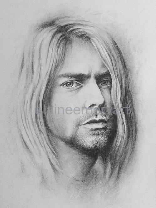 Kurt Cobain Portrait Art Print from Original Drawing