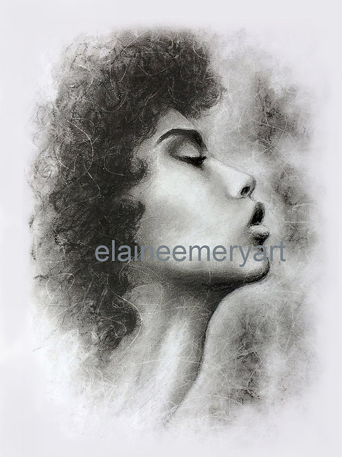 Print from Charcoal Portrait of Woman in Profile