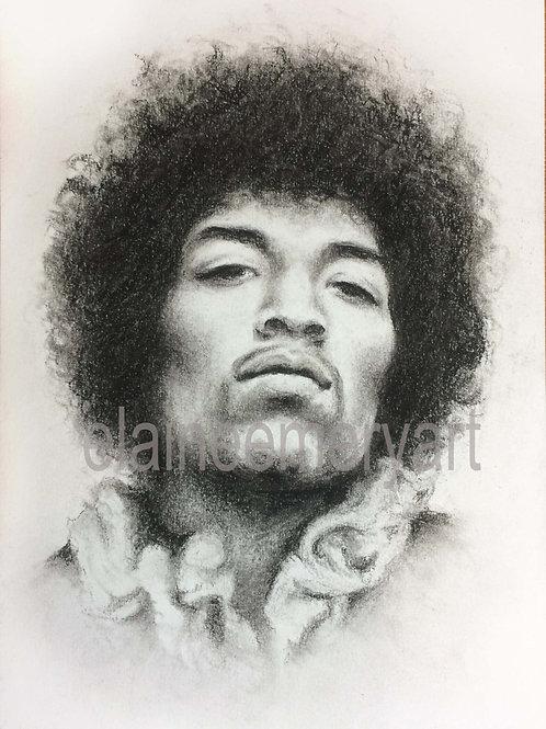Jimi Hendrix Original Charcoal Portrait