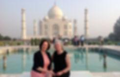 Theresa Bourke and Marie Bourke at the Taj Mahal, India