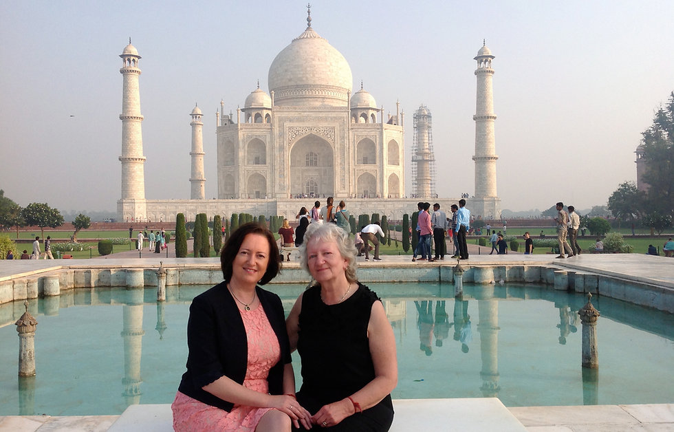 Theresa Bourke and Marie Bourke at the Taj Mahal, India