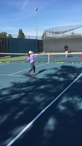volleying the ball -Tennis lesson in San Jose CA