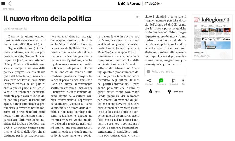 17.12.16 Il nuovo ritmo della politica