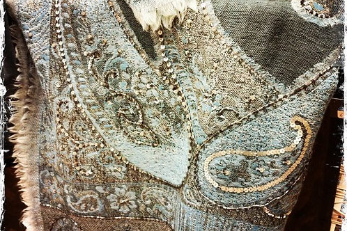 Stola paisley lana telaio a mano 65x180