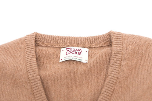 Scollo V William Lockie uomo camelhair