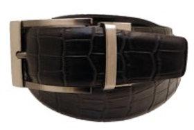 Cintura nera in pelle reversibile