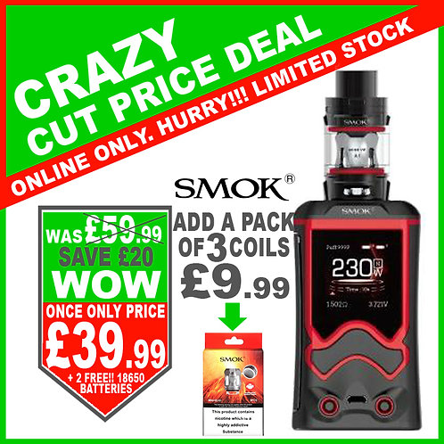 Smok T-Storm Kit Black Red with 2 x FREE 18650 Batteries
