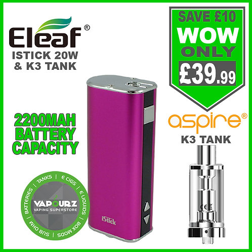Eleaf Istick 20W Battery Mod Pink & Aspire K3 Tank