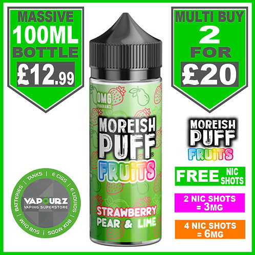 Strawberry Pear & Lime Fruits Moreish Puff 100ml
