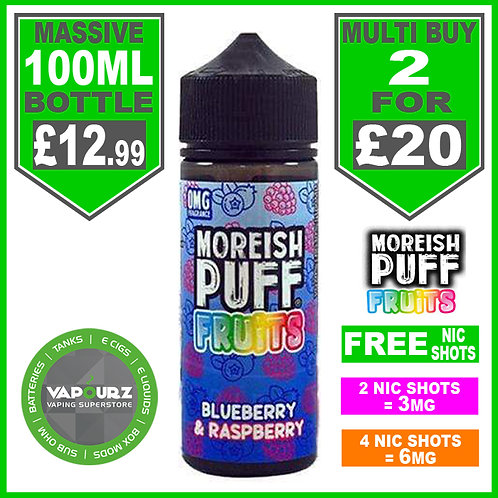 Blueberry & Raspberry Fruits Moreish Puff 100ml