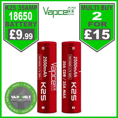 Vapcell K25 18650 2500MAH 35 amp Battery