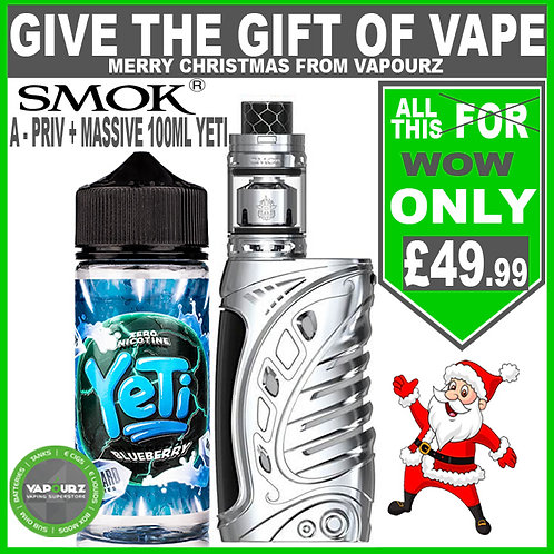 Smok A - Priv Silver Deal ( FREE batteries) + any Yeti Blizzard 100ml