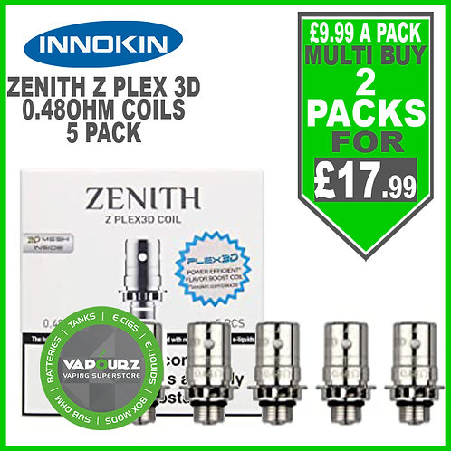 Innokin Zenith Z Plex 3D Coils 5pack 0.48ohm