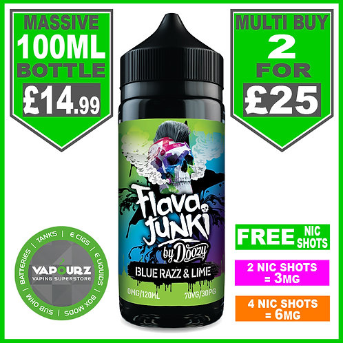 Blue Razz & Lime Flava Junkie by Doozy 100ml