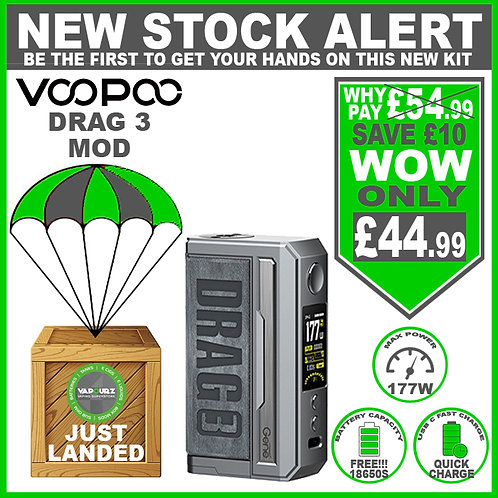 Voopoo Drag 3 Mod Smoky Grey & 2 FREE 18650 Batteries