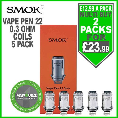 Smok Vape Pen 22 Coils (5 Pack) 0.3ohm