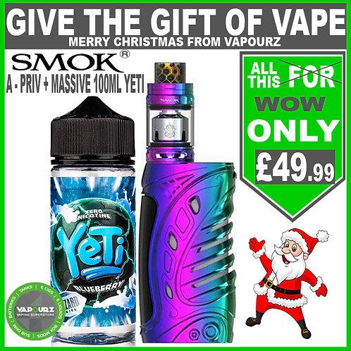 Smok A - Priv Rainbow Deal ( FREE batteries) + any Yeti Blizzard 100ml
