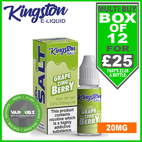 Box Deal Kingston Grape Zingberry Nic Salt 20mg