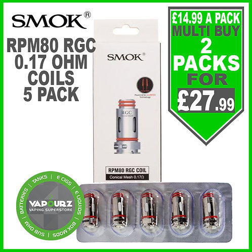 Smok RPM80 RGC 0.17ohm Conical Mesh Coils Pack of 5