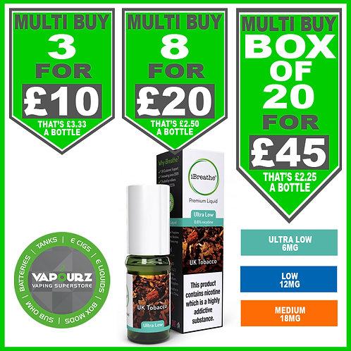 I breathe UK Tobacco BIG DEAL! Three, Eight or Twenty 10ml bottles