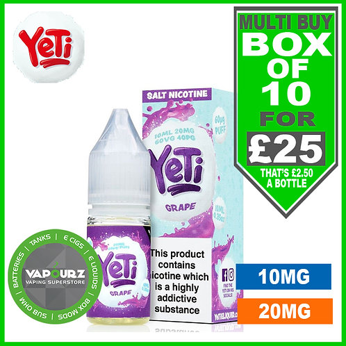 Box Deal Grape Yeti Nic Salts