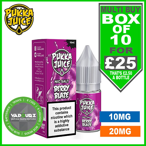 Box Deal Pukka Berry Blaze Nic Salt 10ml