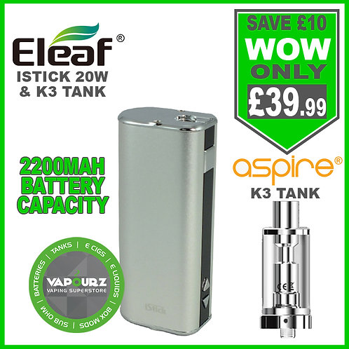 Eleaf Istick 20W Battery Mod Silver & Aspire K3 Tank