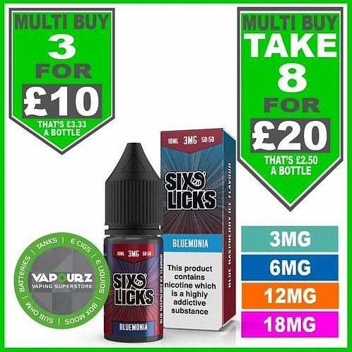 Bluemonia Six Licks 50/50 10ml