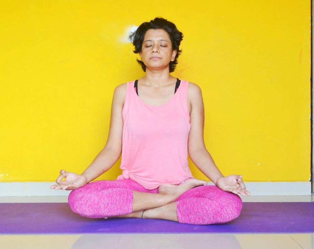 yoga teacher paramita singh in meditation
