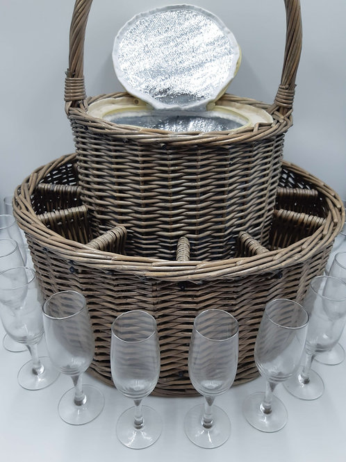 Basket Insulated Champagne with 12 glasses