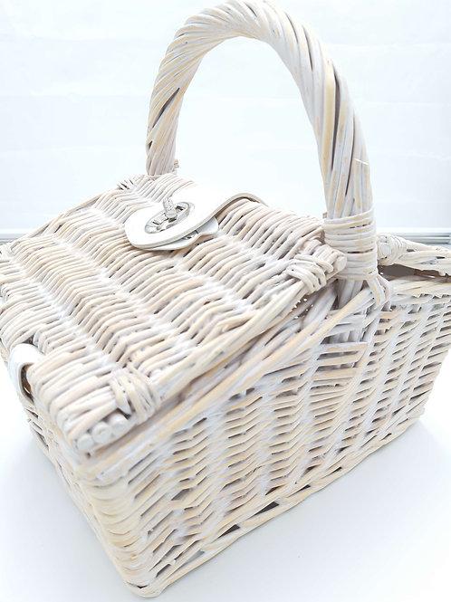 Basket Whitewash Willow Rectangular Double Lid