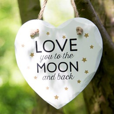 Sass & Belle Love You To The Moon Golden Stars Heart Plaque