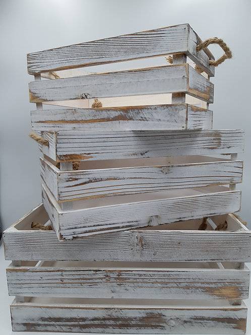 Crate Distressed Whitewash Rope Handled Crate Set 3