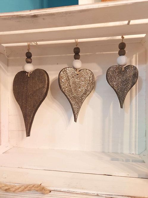 Heart Decorations (Set 3 Hanging Glitter)